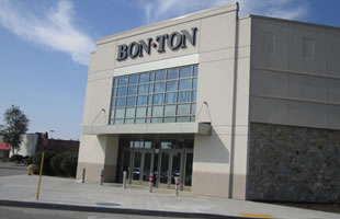 Entrance, curtainwall, and panels. BonTon, South Portland Maine
